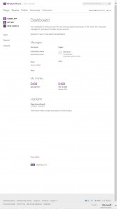 DashBoard Windows Phone Dev Center